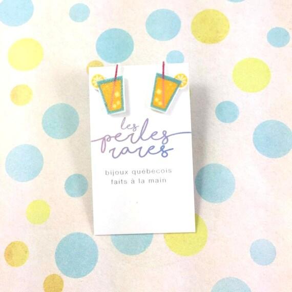 cocktail,limonade earring, yellow, lemon, summer drink, umbrella cocktail, print on plastic, stainless stud, handmade, les perles rares