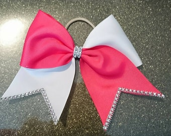 Pink and white tick tock cheer bow. Tick tock cheer bow. Cheer bows UK.