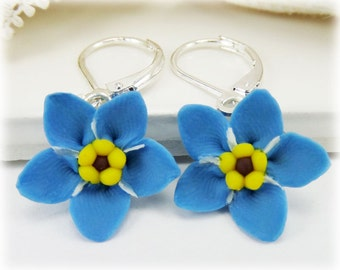 Blue Forget Me Not Dangle Earrings - Forget Me Not Drop Earrings, Blue Flower Earrings