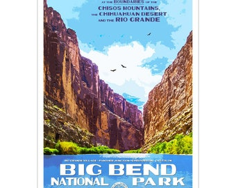 "Big Bend National Park WPA style poster. 13"" x 19"" Original artwork, signed by the artist. FREE SHIPPING!"