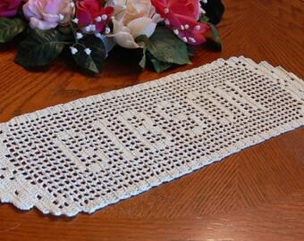 Nom au crochet fait à la main personnalisé spécial napperons - napperon au Crochet en nom - personnalisé napperon - Crochet personnalisé nom - lettres personnalisées - cadeau