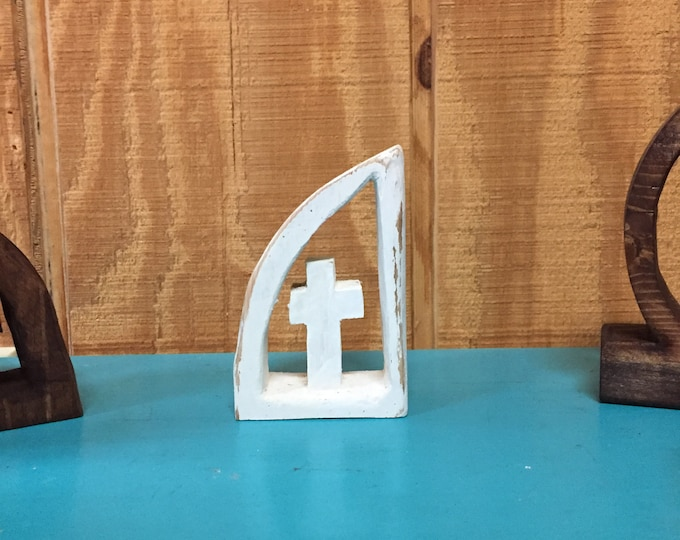 White Distressed Little Wooden Cross Carving | One piece Wooden Cross and Frame | Approximately 4 inches Tall