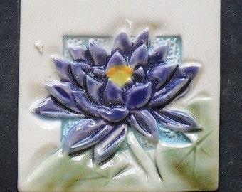 "Purple Lotus Flower 2"" tile, Fridge Magnet, Mosaic"