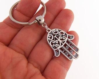 Hamsa hand keychain, hand keychain, hamsa key chain, indian keyring, henna hand key ring, zen keychain, yoga key chain, hindu keychain