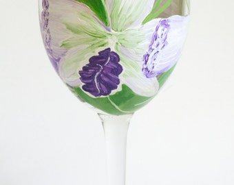 Orchid Wine Glass - Orchid Glass - Hand Painted Orchid Wine Glass - Hand Painted Flower Glass - Purple Orchid Wine Glass - Painted Glass