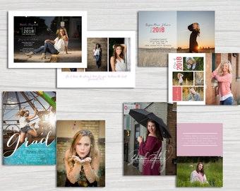 Set of 4 customizable graduation invitation announcement templates for photographers