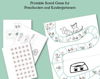 Printable Board Game for 5 year olds, Kindergarten Game, Printable Games, Cooperative Board Game, Veterinary Theme, Preschooler, Pets Theme