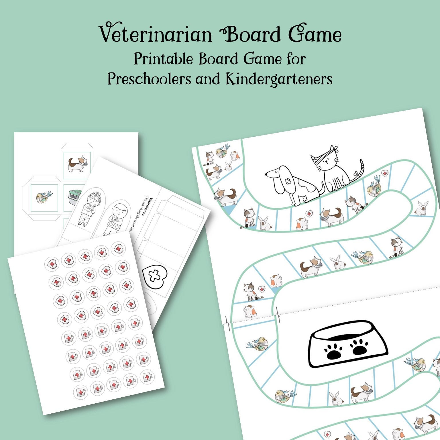 Printable Board Game for 5 year olds Kindergarten Game