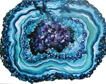 """8"""" x 10"""" MATTED Geode Agate Mineral Crystal Print from Original Painting"""
