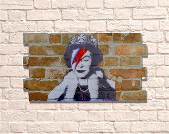 Industrial Queen Bowie No Frame Brick Wall Graffiti Style Artwork Art Steampunk 3D Ceramic Brick Panels. Wall Hanging Kit Supplied. UK MADE