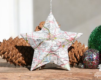 Winston-Salem, North Carolina - Vintage Map Covered Star Ornament - NC, Home Decor, East Coast, 3 Dimensional, Christmas, Tree