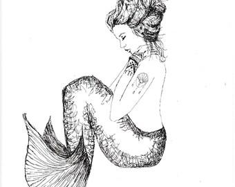 Nora, the Inked Mermaid; C-Print; Chromogenic Print; Fantasy Art
