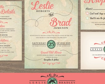 Vintage Destination Wedding Invitation // Travel Wedding Invitation Set, Map Invitation // Printable Wedding // Coral and Turquoise Wedding