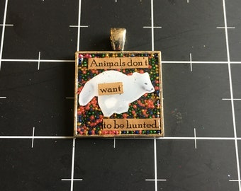 Animals Don't Want to Be Hunted, White Fox Pendant, 50% goes to the current focus charity