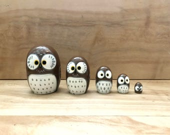 Vintage Nested Wood Owl Eggs - Nature Spring Russian Nest Rustic Decor