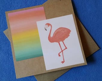 Flamingo and Rainbow Sunset Handmade Card - Recycled Kraft Paper Square Greeting Card, Blank Card