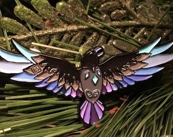 NEW! Medicine Bird, Raven spirit pin (#4 in spirit animal collection)