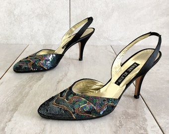 Vintage Sequin Beaded Slingback Heels / 80's 90's / Black Gold Heel / 6.5M