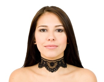 Black Lace Choker Wide Floral Boho Victorian Lace Choker Necklace Collar Jewelry