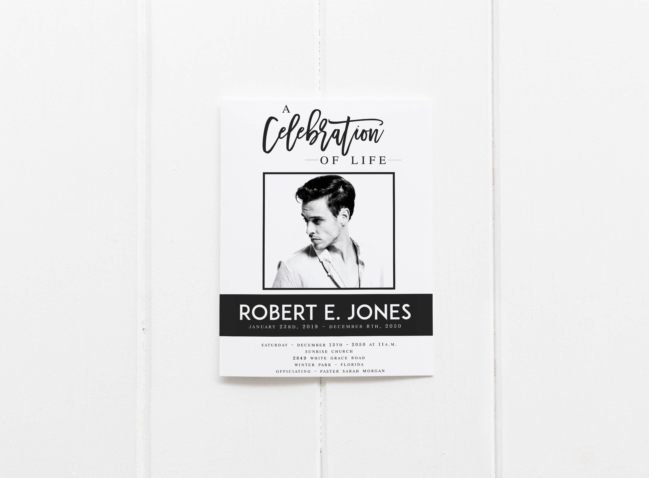 A Celebration of Life Modern Black and White Funeral Program