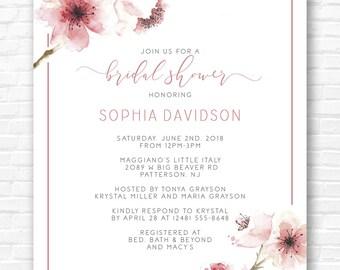 Pink Cherry Blossom Shower Invitation