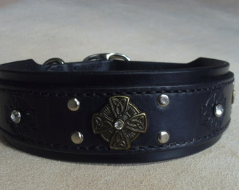 BLACK CELTIC - Dog Collar with Clear Crystals