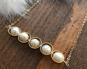 Fresh Water Pearl and Brass Hoop Bar Layering Necklace