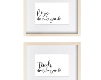 Song Lyrics Wall Art Set - Ellie Goulding - Fifty Shades of Grey - Love Me Like You Do - Typographic Art - Calligraphy