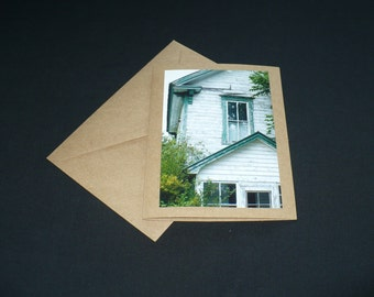 White Abandoned House Fine Art Photo Blank Greeting Card All Occasion Kraft Paper