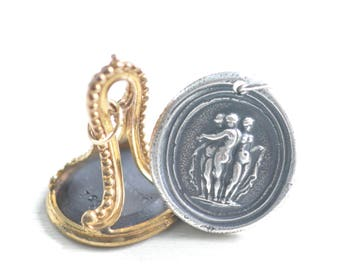 three graces wax seal necklace - classical mythology wax seal jewelry