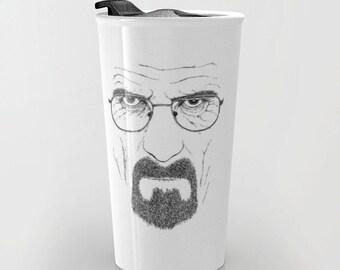 Travel mug with Breaking Bad / Heisenberg illustration