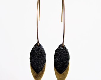 Black leather and brass petals earrings