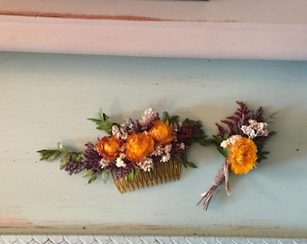 Strawflower Haircomb and Boutonnière