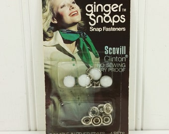 Scovill Ginger Snaps Faux Pearl Snap Fasteners 4 Sets No Sewing Rust Proof Snaps