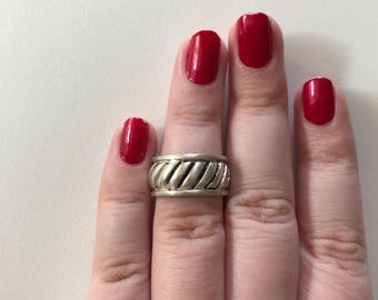 Vintage Diagonal Striped 925 Sterling Silver Thich Band Ring