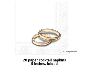 gold rings wedding cocktail napkins, reception decorations, bar supplies, gold bands, engagement, bridal shower, bachelorette party