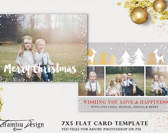 Christmas Card Template, 7x5 in Holiday Card Adobe Photoshop psd Template, sku xm15-16