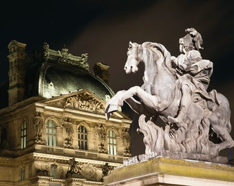 Midnight at Paris Louvre II - Paris Photo - Fine art travel photography - Louvre Palace - French sculpture - architecture - City of Light