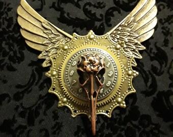 Steampunk Wing Bird Pin