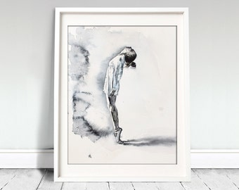Watercolor Print. Ballerina art print in black and white for your home decor.
