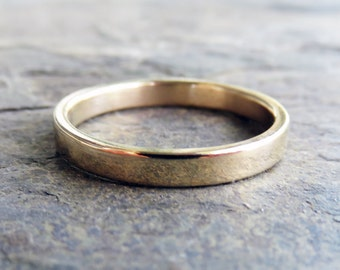 Flat Gold Wedding Band - 3mm Wedding Ring in Solid 14k Yellow Gold - Polished or Matte Gold Wedding Ring