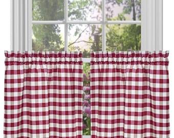 lovemyfabric Poly Cotton Gingham Checkered Plaid Design  Kitchen Tier Curtain Window Treatment Set