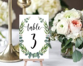 Boho wedding decor etsy wedding table numbers eucalyptus boho wedding decor table decor rustic wedding printable junglespirit Gallery