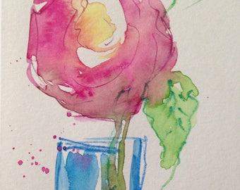 Original Watercolor Watercolor Postcard image art Flower Watercolor flowers