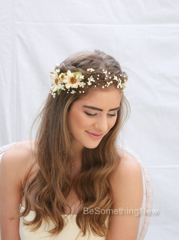 flower crown wedding hair rustic floral hair vine of ivory daisies and pearls beaded 4156