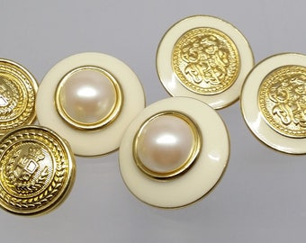 Crest Shield & Faux Pearl Earrings, Vintage Post Pierced Vintage Costume Jewelry, Gifts, Work Attire
