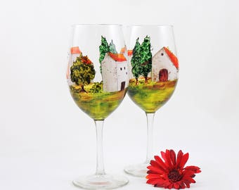 Hand painted glasses - Set of 2 wine glasses  - Village Provencal collection