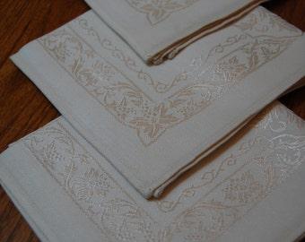 4 Vintage Cloth Napkins,  Damask  Napkins,  Fancy Napkins, Ivory Cotton Napkins, Table Linen