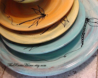 Custom dinner plates choose your desired colors with or without dragonflies dragonfly design rustic dinnerware pottery tableware rustic home & Design your own dinner plates choose colors and design