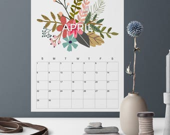 2018 Calendar Printable, Letter Size Printable Calendar, Floral Spray Design, 2018 Wall Calendar, DIY Printable